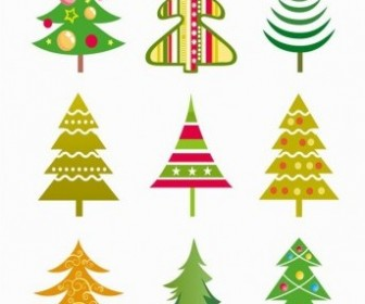 Vector Tree Illustration Set Christmas Vector Graphics