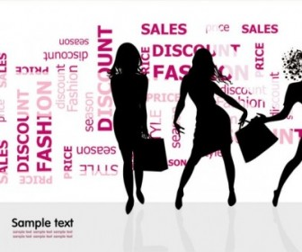 Vector Fashion Shopping Beauty Silhouette 01 Silhouettes Vector Graphics