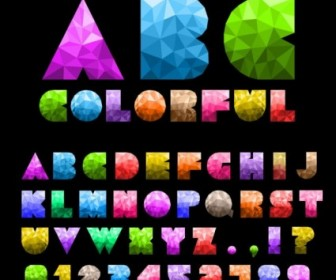 Vector Colorful Letters And Numbers 01 Vector Art
