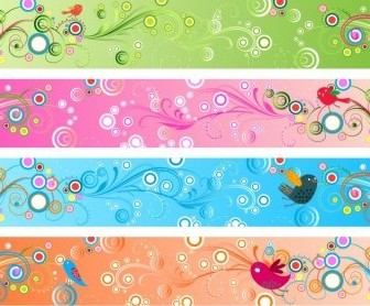 Vector Retro Floral Banners Vector Banner