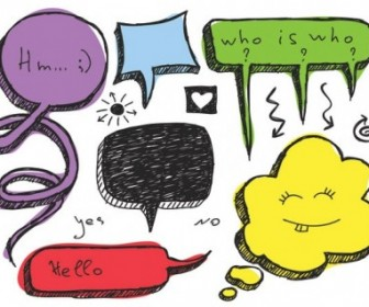 Vector Lovely Handdrawn Dialogue Bubble 4 Vector Art