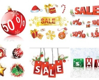 Vector Sales Discount Decorative Elements Christmas Vector Graphics