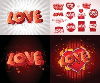 Vector 3d Love Fonts Vector Art
