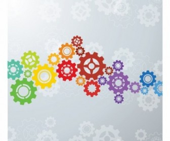 Vector Colorful Gears Background Vector Art