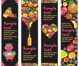 Vector Cute Colorful Fruits And Vector Banner