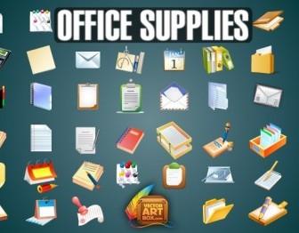 Vector Office Supplies Set Vector Art