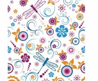 Vector Seamless Dragonfly And Floral Pattern Vector Art