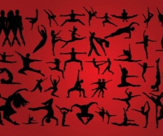 Vector Dancing Silhouettes People Vector Art