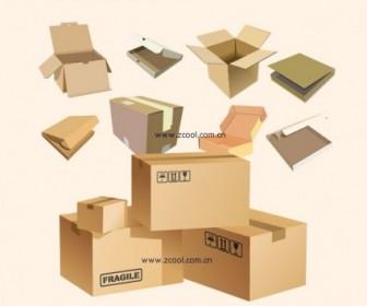 Vector Cardboard Boxes Blank Vector Art
