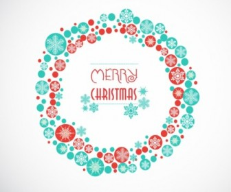 Vector Greeting Card With Christmas Wreath Vector Art