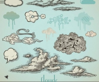 Vector Pen Drawing Style Clouds Vector Art