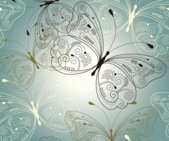 Vector Beautiful Butterfly 03 Pattern Vector Art