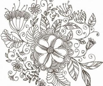 Vector Line Drawing Swirl Flower Graphic Pattern Vector Art