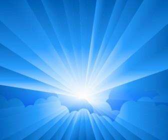 Vector Sun Burst With Rays Form Clouds Vector Art