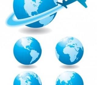 Vector Globe And Airplane Vector, Blue Marbel Design Vector Art