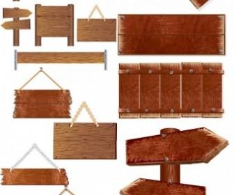 Vector Wooden Signs Indicate Vector Art
