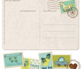 Vector Postcard With Stamps 02 Cartoon Vector Art