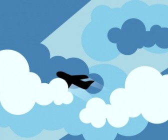 Vector Plane Silhouette Flying Through Clouds Vector Clip Art