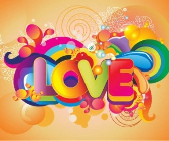 Vector Colorful Love Background Vector Art