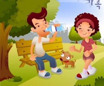 Vector Iclickart Illustration 10 Family Cartoon Vector Art