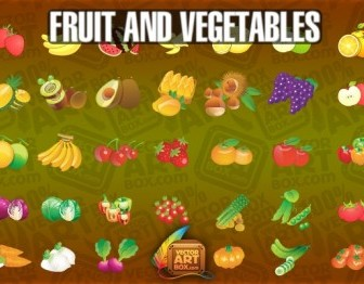 Vector Fruit Vegetables Icons Icon Vector Graphics