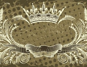 Vector Nostalgic European Crown Ribbon Pattern Vector Art