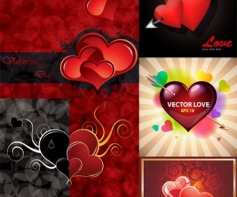 Vector Romantic Valentine Day Greeting Card Heart Vector Art
