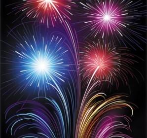 Vector 6 Brilliant Fireworks Vector Art