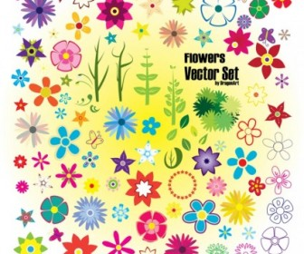 Vector Colorful Summer Flowers Flower Vector Art