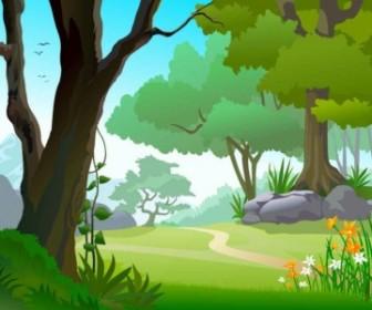Vector Green Landscape Trees Background Vector Art