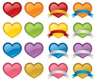 Vector Love Heart Set Icon Vector Graphics
