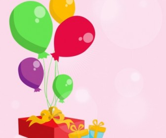 Vector Balloons With And Gift Vector Art