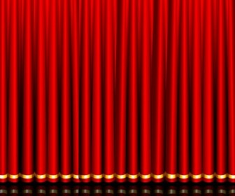 Vector Gorgeous Curtain Of Red 03 Vector Art