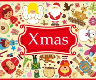 Vector Cute Xmas Elements Set Vector Art
