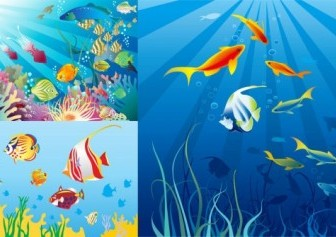 Vector Beautiful Underwater World Vector Art
