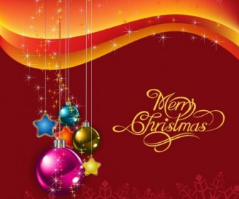 Vector Red With Christmas Balls Illustration Background Vector Art
