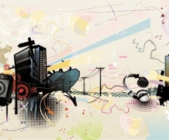 Vector The Trend Of Music Illustration Material 3 Vector Art