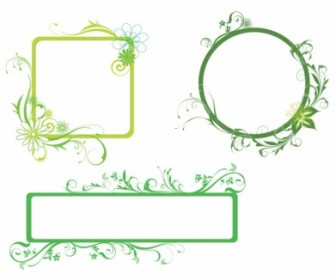 Vector Fresh Green Borders Floral Vector Art