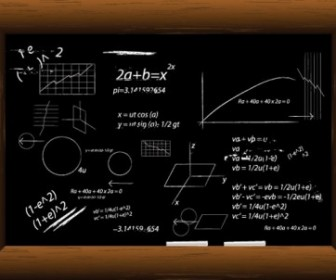 Vector Blackboard Filled With Equations Vector Art