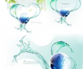 Vector Dynamic Spray Around The Earth Vector Art