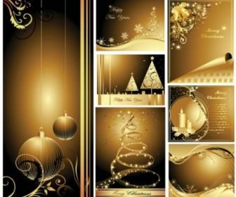 Beautiful Golden Christmas Card Free Vector