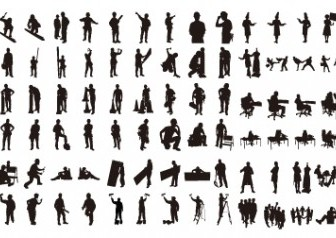 Various Silhouettes People Free Vector Graphics