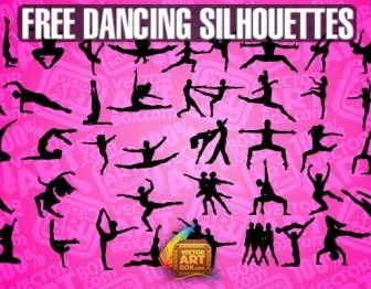 Dancing People Silhouettes  Free Vector Art