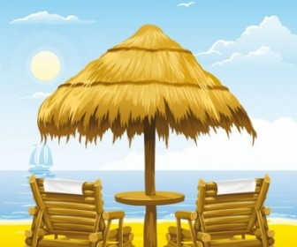 Beach Wooden Chair Free Vector