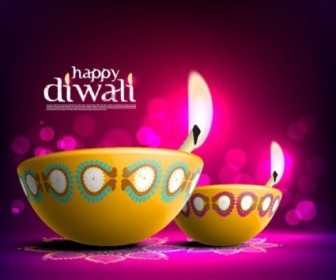 Beautiful Diwali Card Vector Template