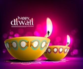 Beautiful Diwali Card Vector Template