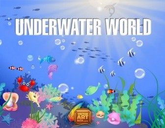 Underwater World Animals Vector Art
