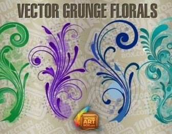 Grungy Floral Background Vector Art