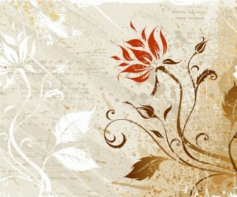 Vector Grunge Floral Vector Art