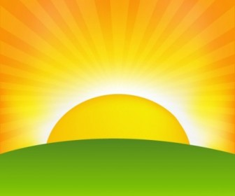 Vector Sunrise Cartoon 01 Background Vector Art